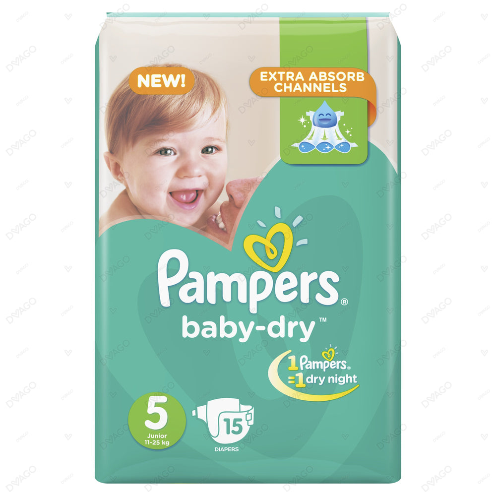 Pampers Baby Dry Diapers Extra Large Size 5 15 Count
