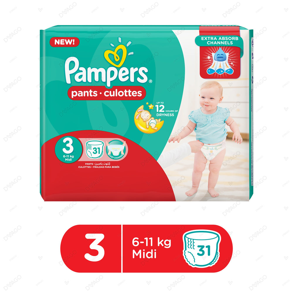 Pampers Pants Diapers Medium Size 3 31 Count