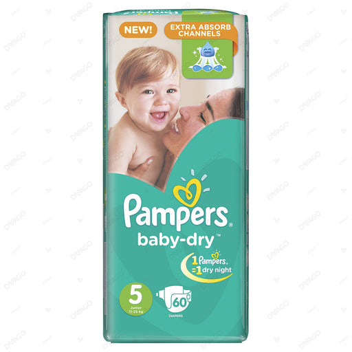 Pampers Baby Dry Diapers Extra Large Size 5 60 Count