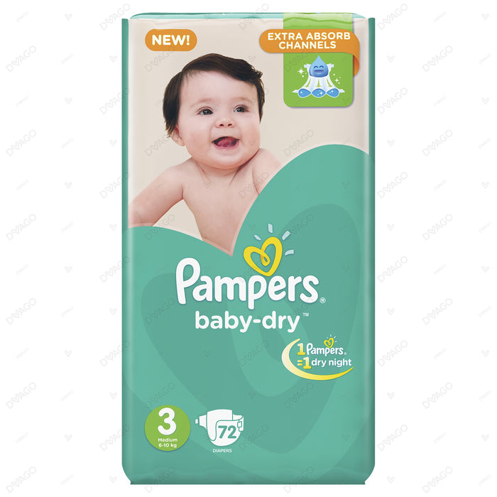 Pampers Baby Dry Diapers Medium Size 3 72 Count