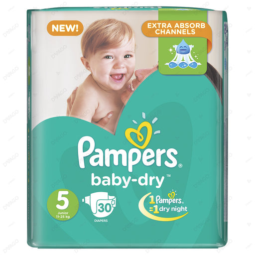 Pampers Baby Dry Diapers Extra Large Size 5 30 Count
