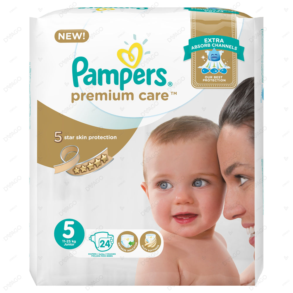 Pampers Premium Care Diapers Extra Large Size 5 24 Count