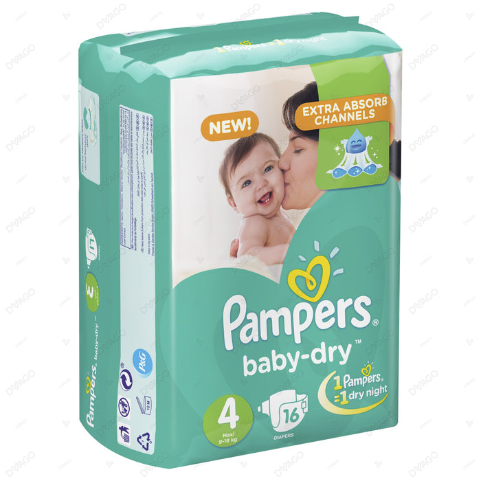 Pampers Baby Dry Diapers Large Size 4 16 Count