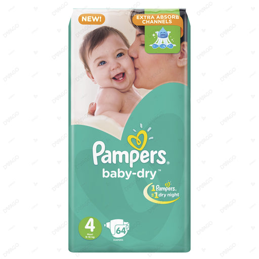 Pampers Baby Dry Diapers Large Size 4 64 Count