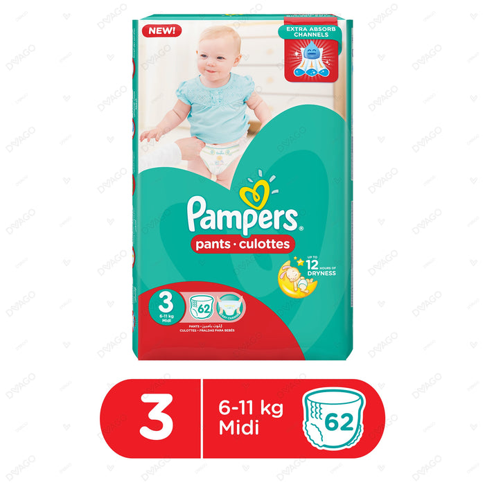 Pampers Pants Diapers Medium Size 3 62 Count