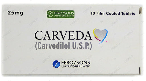 Carveda Tablets 25mg 10's