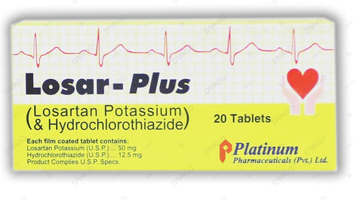 Losar Plus Tablets 50/12.5mg 2X10's