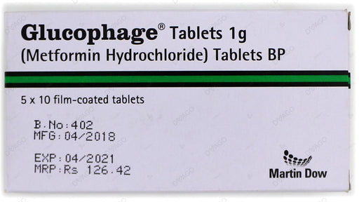 Glucophage Tablets 1g 5X10's