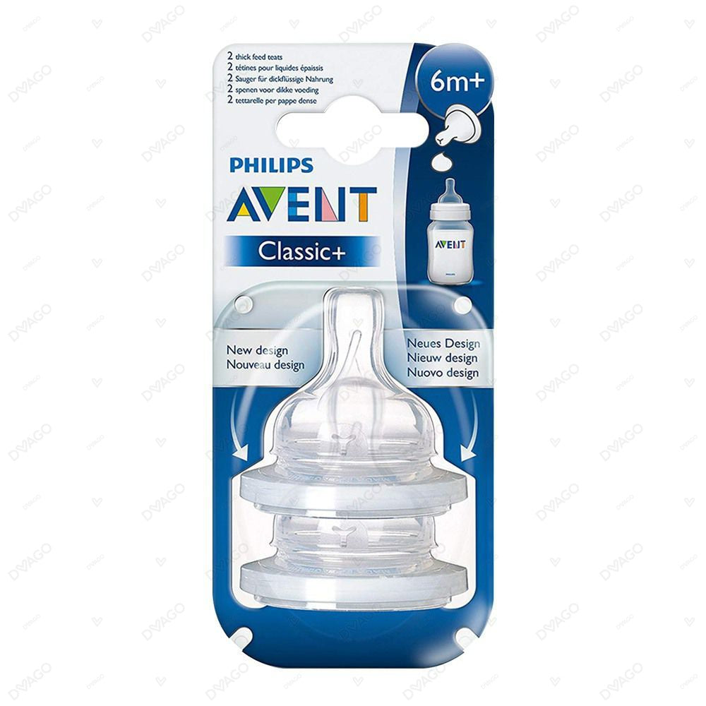 Avent Classic+ Silicone Teat 6M+ 4 Holes 2 Count
