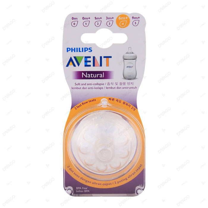 Avent Natural Teat Fast Flow 6M+ 4 Holes 2 Count