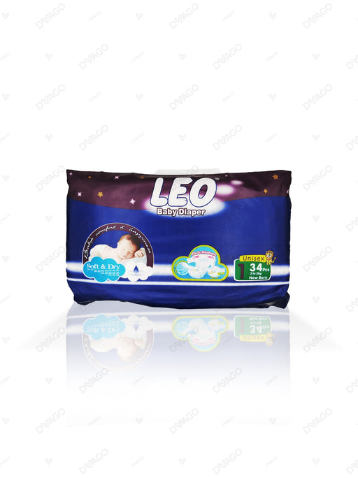 Leo Baby Diapers New Born 34 Count