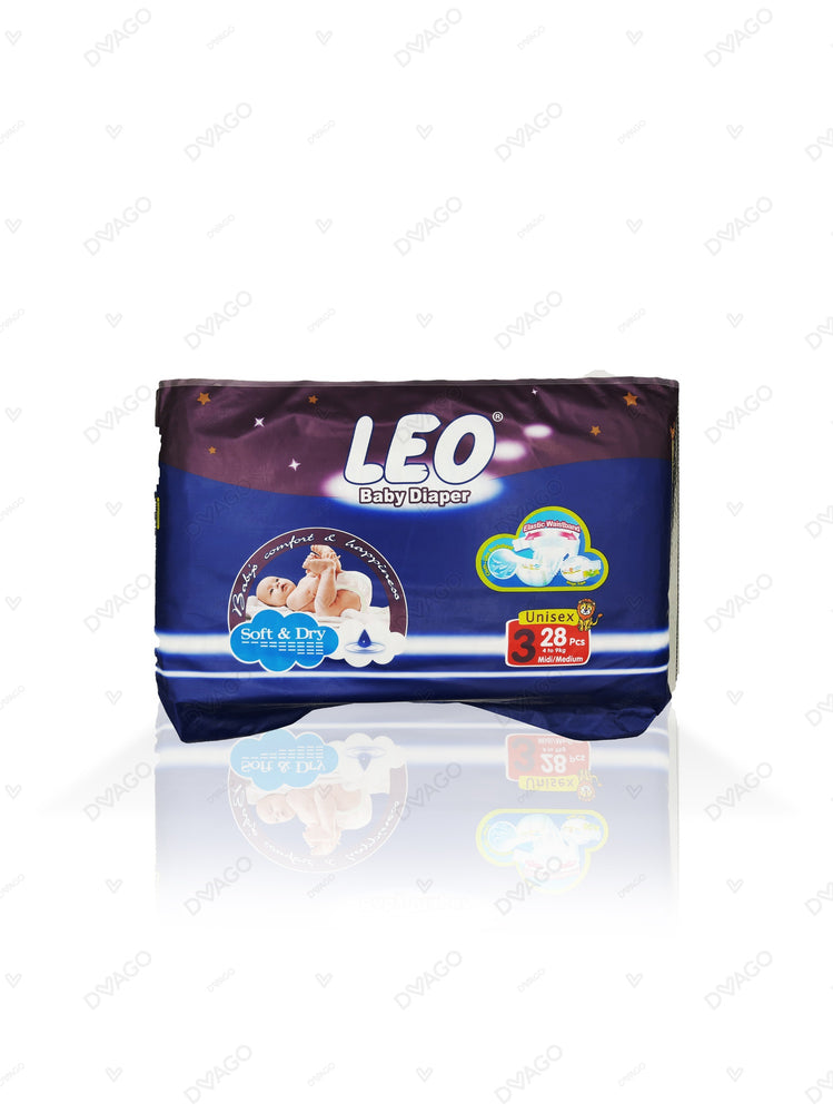 Leo Baby Diapers Medium Size 3 28 Count