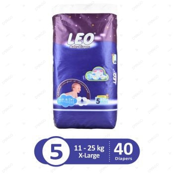 Leo Baby Diapers Jumbo Pack X-Large Size 5 40 Count