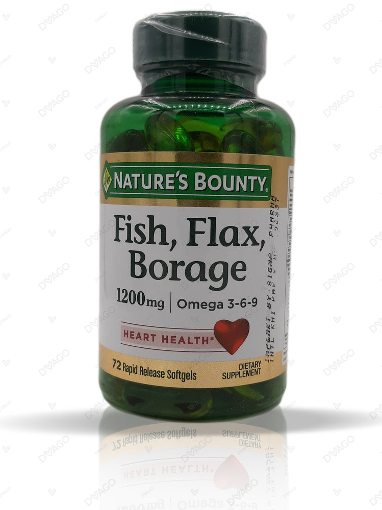 Nature's Bounty Fish Flax Borage 1200mg 72 Softgels