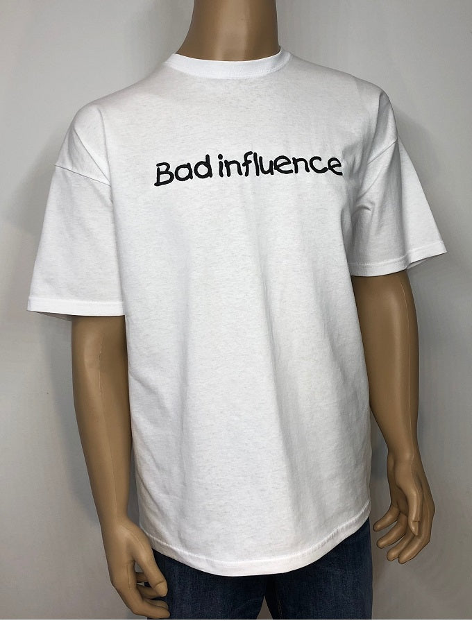 Bad influence 👕 Embroidered text T-shirt