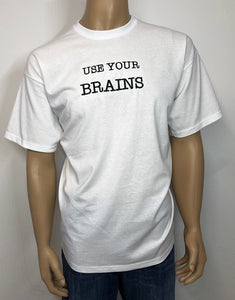 Use your brains 👕 Embroidered text T-shirt