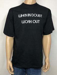 When in doubt - work out 👕 Embroidered text T-shirt