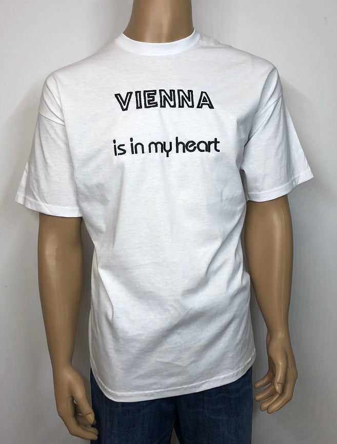 Vienna is in my heart 👕 Embroidered text T-shirt