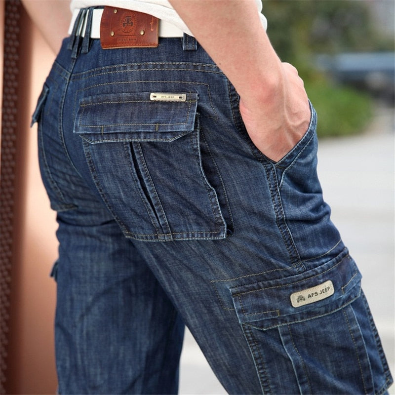 Casual military multi-pocket jeans