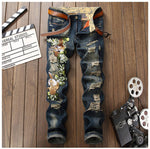 Men's tiger embroidery ripped jeans