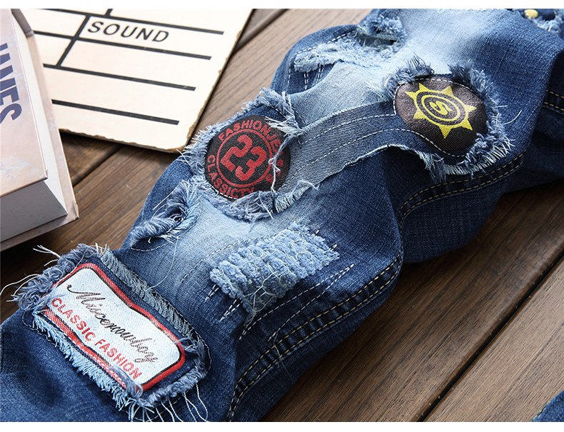 Patches design stretch denim jeans