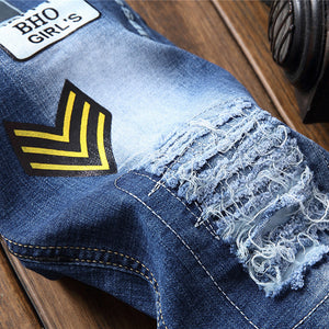 Men's American flag patches design blue denim jeans