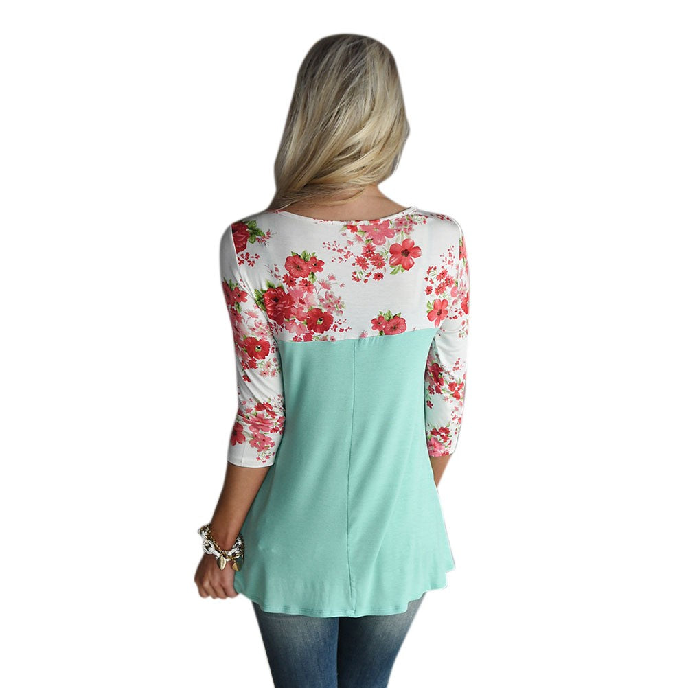 Women Round Neck 3/4 Sleeve Top
