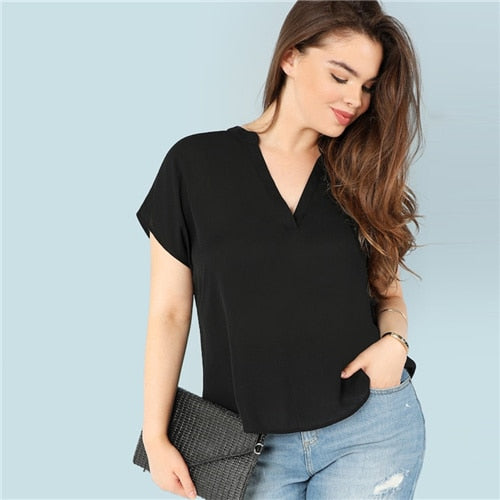 Casual Black V neck Blouse
