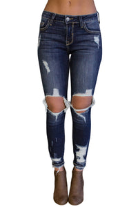 Womens Basic Distressed Jeans
