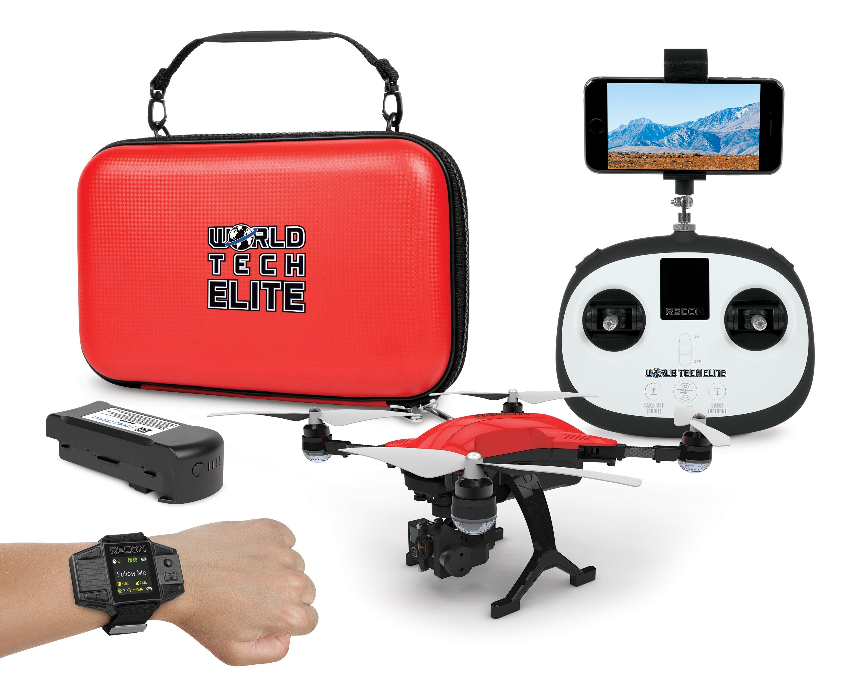 World Tech Elite Recon Follow Me Drone with Smart Watch, 4K Camera 2.4GHz 4.5CH