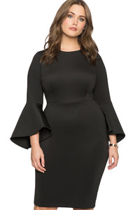 Women Plus Size Flare Sleeve Dress