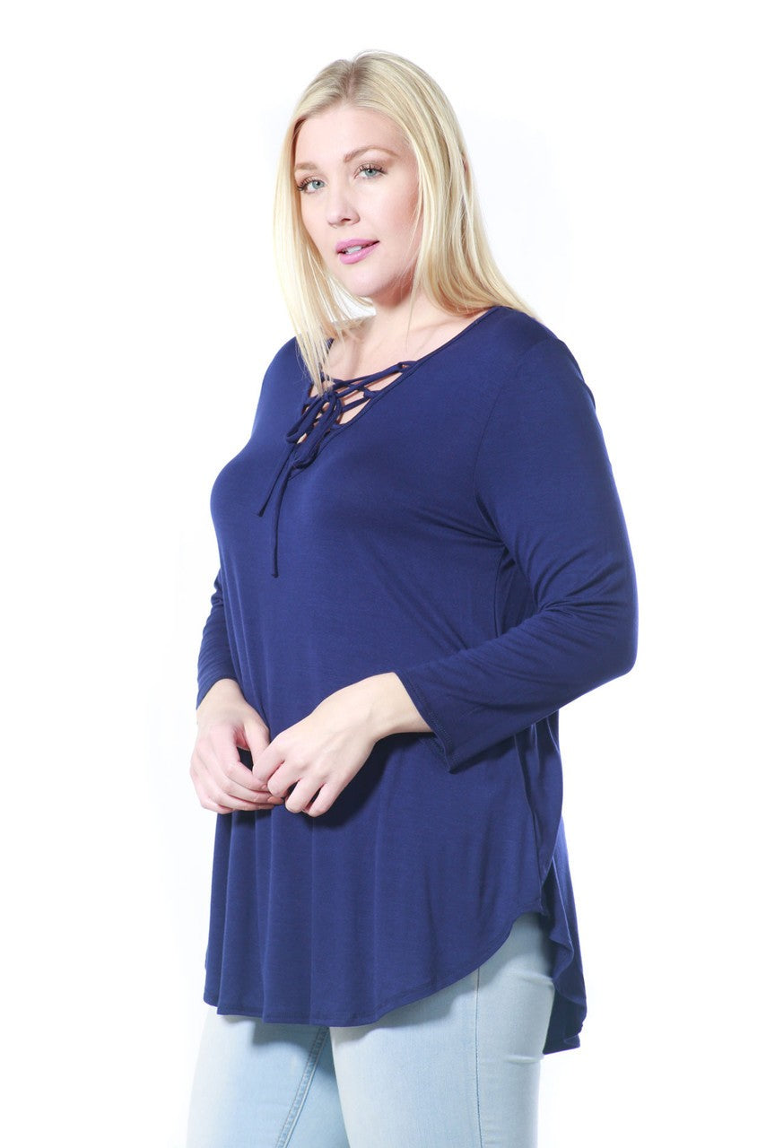 Plus Size V Neck Long Sleeve Tunic