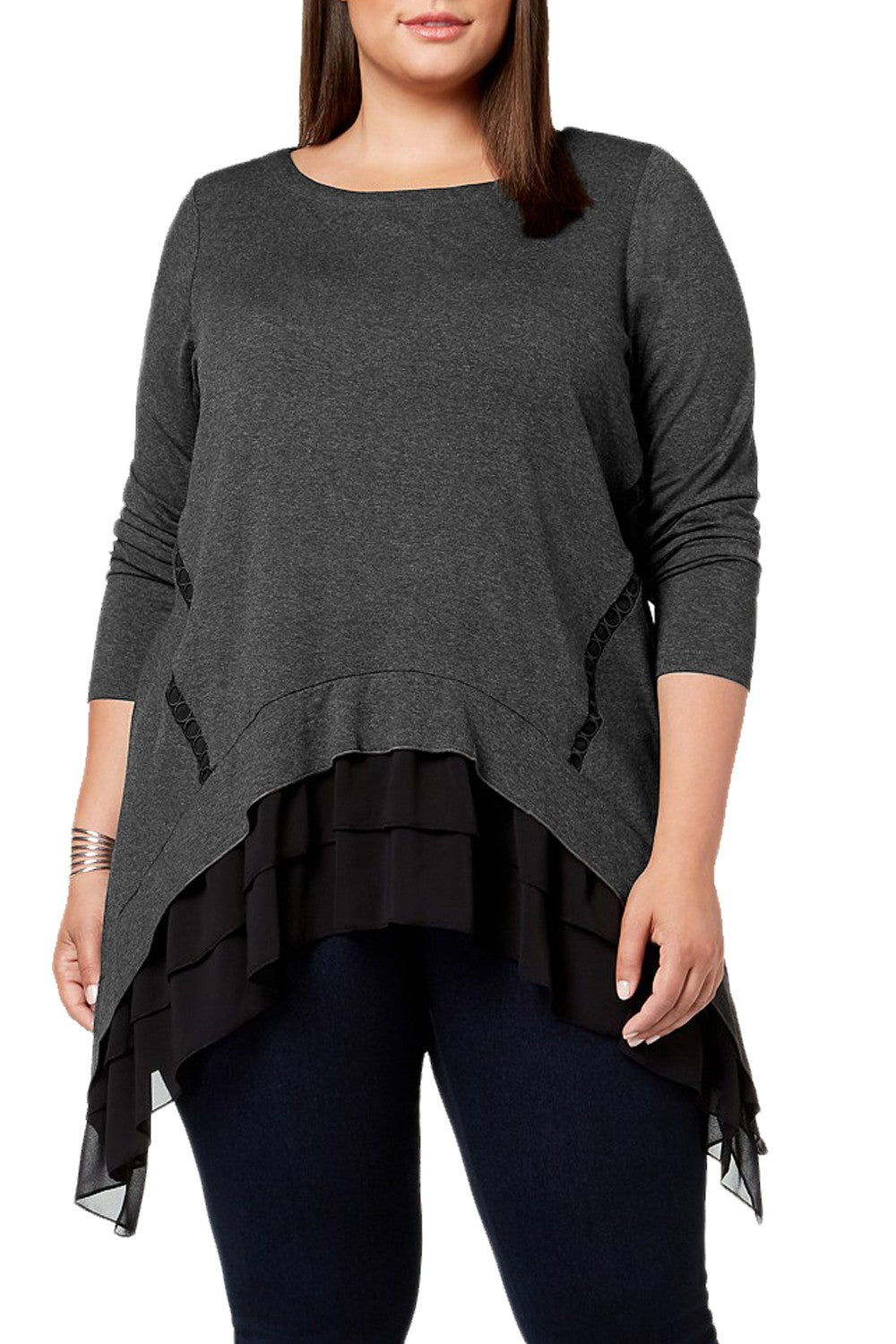 Women Ruffled Splice Plus Size Tops