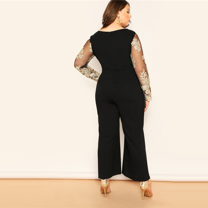 Embroidered Contrast Jumpsuit