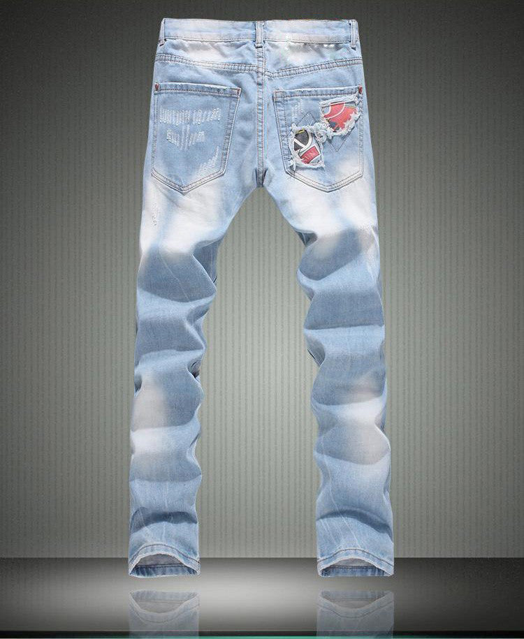 Men's fashion patchwork hole ripped jeans