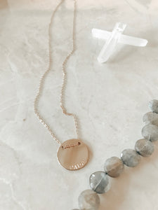 Classic Floating Coin Curved Stamp Necklace