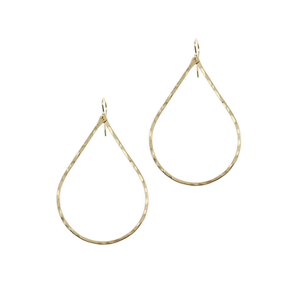 Large Hammered Signature Teardrop Earrings