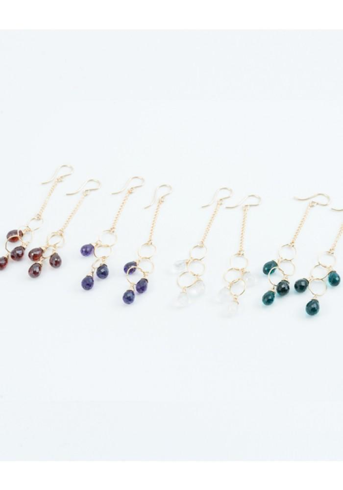 Triple Gemstone Earring