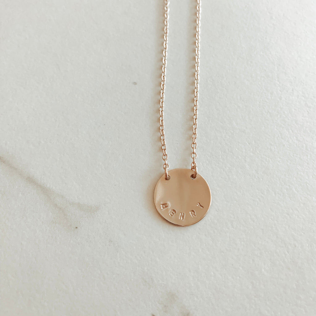 Classic Coin Split Chain Curved Stamp Necklace