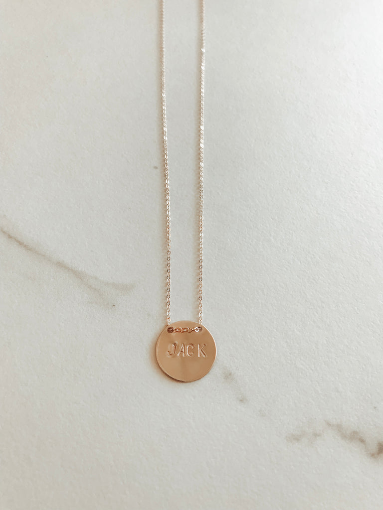 Classic Floating Coin Straight Stamp Necklace
