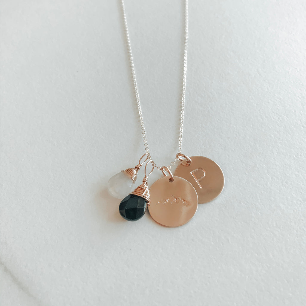 Double Classic Coin Necklace With 2 Gems