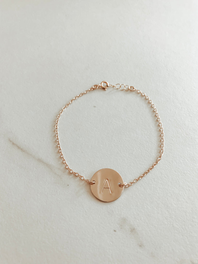 Single Letter Classic Coin Bracelet