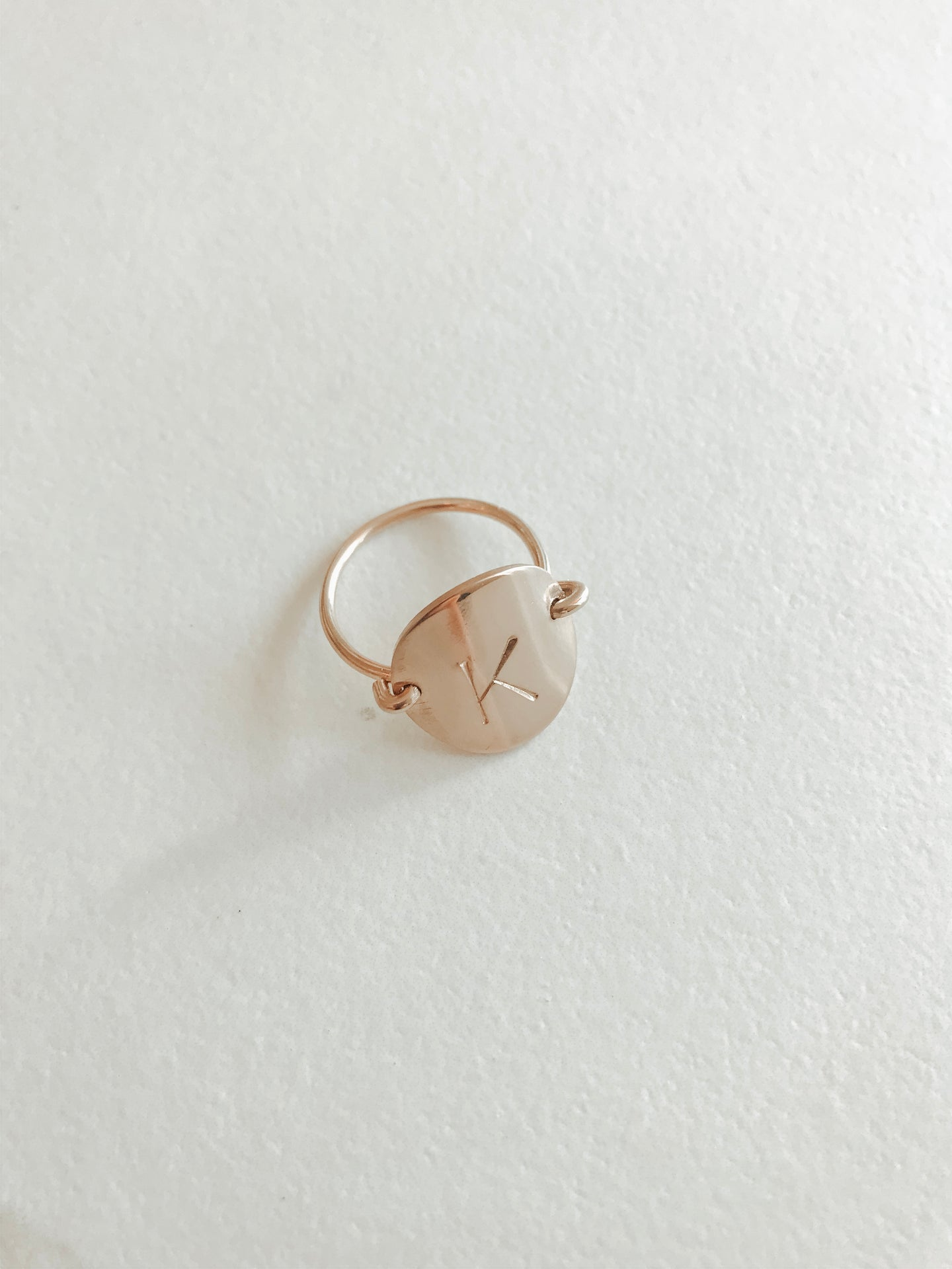 Single Letter Classic Coin Ring