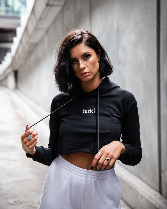 The Voltage Cropped Hoodie - Black
