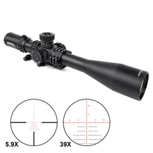 Load image into Gallery viewer, Sniper VT5.9-39x56 FFP 35MM Scope First Focal Plane Riflescope with Red/Green/Blue Illuminated Reticle