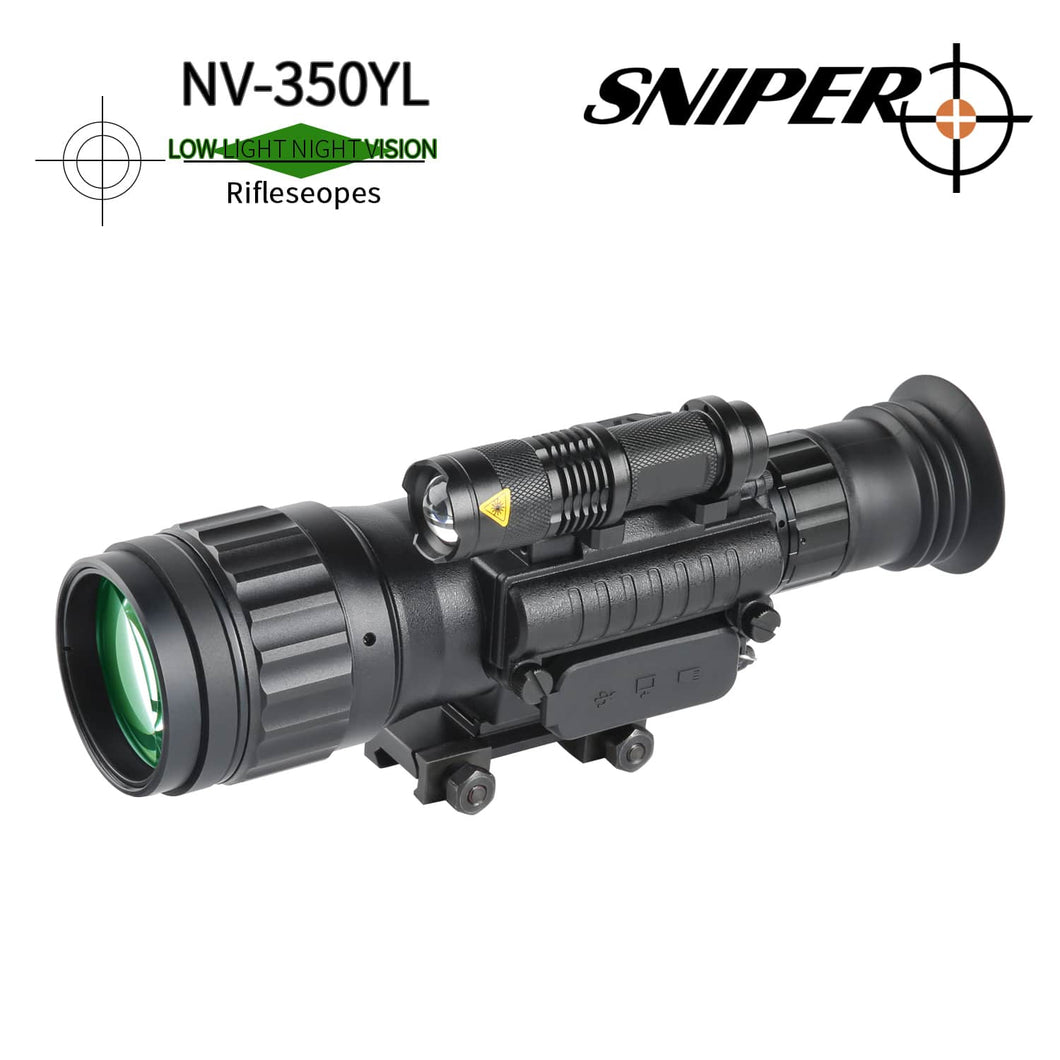 Sniper HD 4.5x50 Digital Night Vision Riflescope Night Vision Infrared IR Camera Take Photos and Video Playback Function and TF Card for Hunting