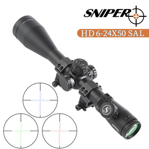 Sniper HD 6-24x50 SAL Hunting Rifle Scope 30mm Tube Side Parallax Adjustment with Red Green Illuminated Reticle