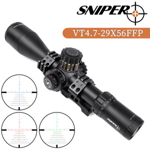 Sniper VT4.7-29x56 FFP 35MM Scope First Focal Plane Riflescope with Red/Green/Blue Illuminated Reticle