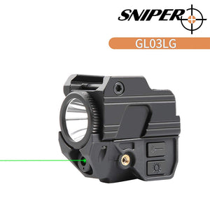 Sniper GL03 Green Dot Sight & 200LM LED Flashlight 20mm Rail with USB Rechargeable Battery
