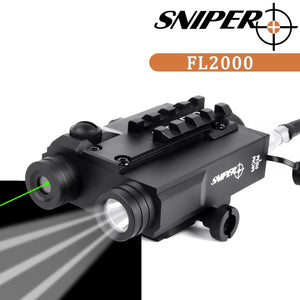 Sniper FL2000 TACTICAL Green Dot SIGHT + 200LM LED LIGHT COMBO with Pressure Cord Switch and Quick Release Mount